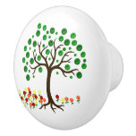Recycle Tree And Flowers Ceramic Knob at Zazzle