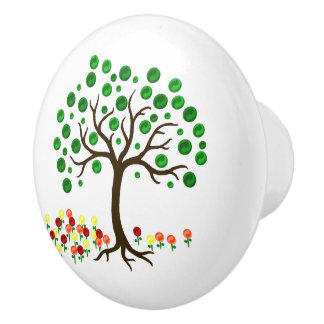 Recycle Tree and Flowers Ceramic Knob