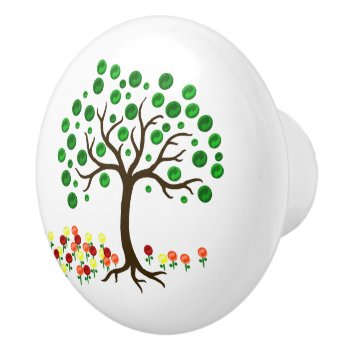 Recycle Tree And Flowers Ceramic Knob by HolidayBug at Zazzle