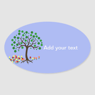 Recycle Tree and Flowers Oval Sticker