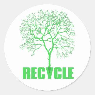 Recycle Tree Classic Round Sticker