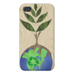 Recycle Tree Earth Globe Wood Grain iPhone Case iPhone 4 Cases
