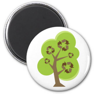 Recycle Tree Green 2 Inch Round Magnet