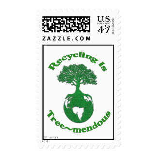 Recycle Tree Postage Stamp