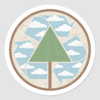 Recycle Tree & Sky Classic Round Sticker