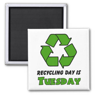 Recycle Tuesday 2 Inch Square Magnet