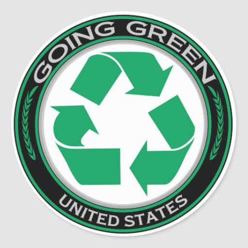 Recycle United States Round Stickers
