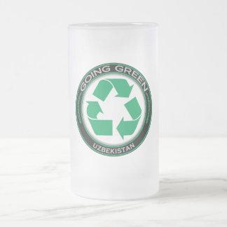 Recycle Uzbekistan Frosted Glass Beer Mug