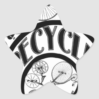 Recycle w Bicycles Star Sticker