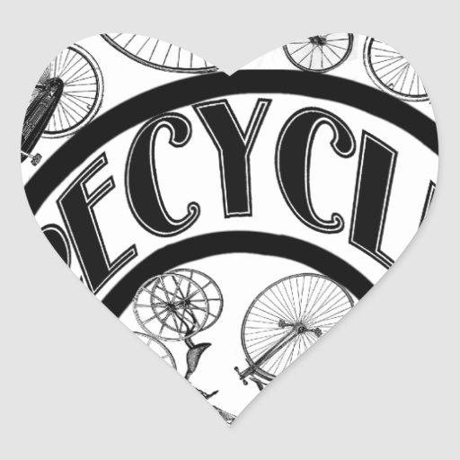 Recycle w Bicycles Heart Stickers