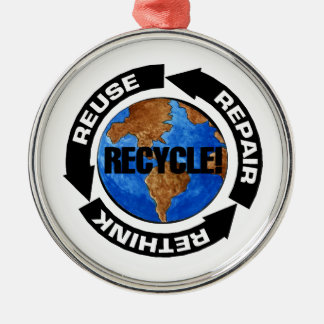 Recycle World Metal Ornament