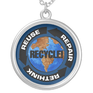 Recycle World Round Pendant Necklace