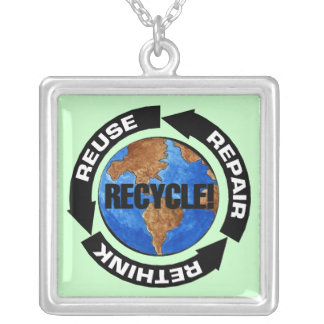 Recycle World Square Pendant Necklace