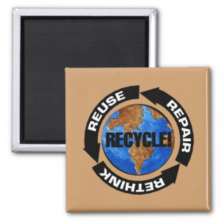 Recycle Worldt 2 Inch Square Magnet