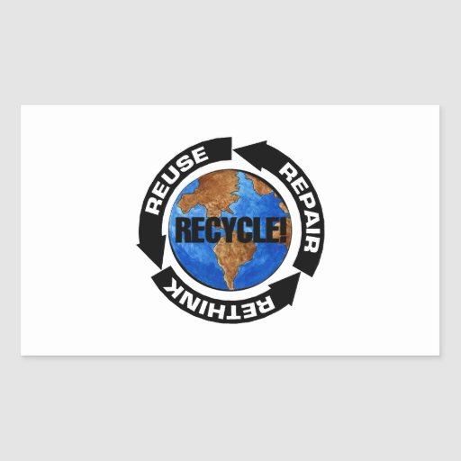 Recycle Worldt Rectangle Sticker