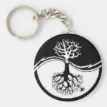 RECYCLE YIN YANG TREE BASIC ROUND BUTTON KEYCHAIN