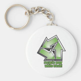 recycle your white trash in green keychain