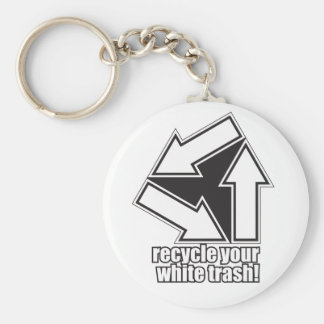 recycle your white trash in white keychain