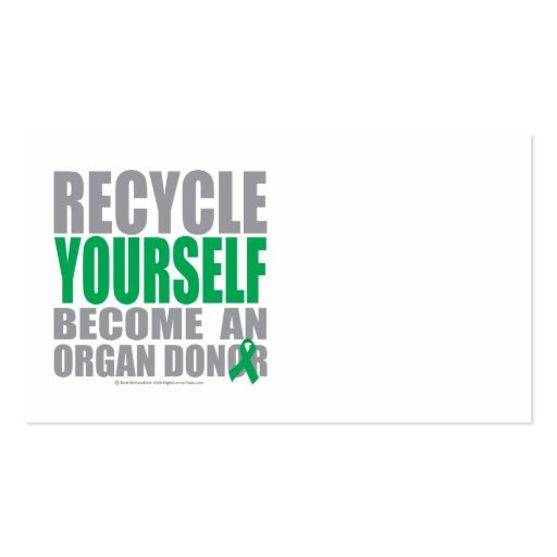 Recycle Yourself Organ Donor Double-Sided Standard Business Cards (Pack Of 100)