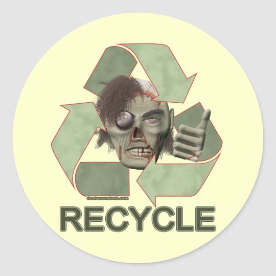 Recycle Zombie Classic Round Sticker