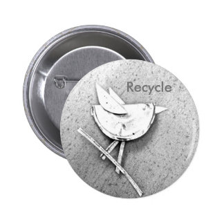 Recycled Bird Pinback Button