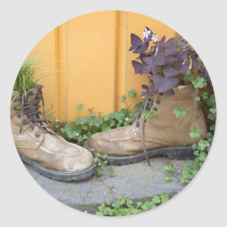 Recycled Boots Make Good Planters Classic Round Sticker