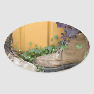 Recycled Boots Make Good Planters Oval Sticker