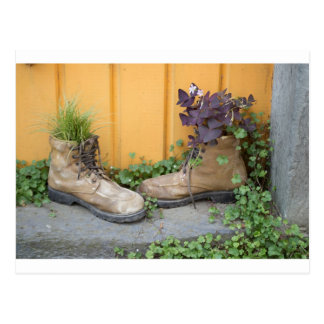 Recycled Boots Make Good Planters Postcard