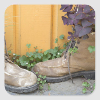 Recycled Boots Make Good Planters Square Sticker