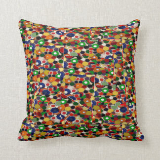 Recycled Bottle Caps Photo Mosaic on Throw Pillow