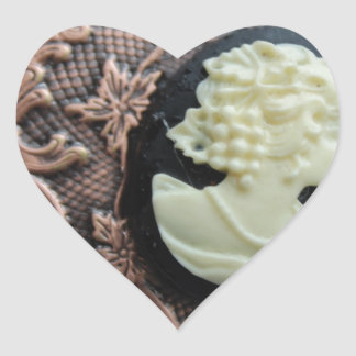 Recycled Cameo Heart Sticker