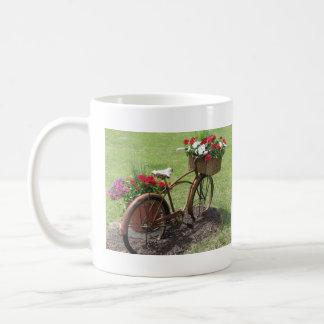 recycled flower bicycle coffee mug