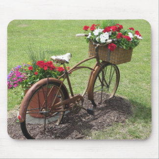 recycled flower bicycle mouse pad