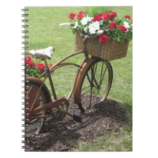recycled flower bicycle notebook