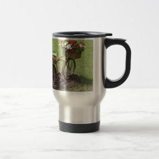 recycled flower bicycle travel mug