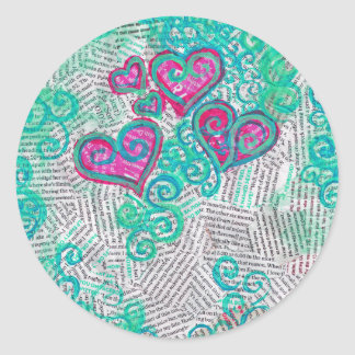 Recycled Hearts Round Sticker