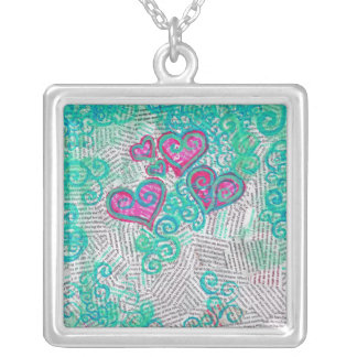Recycled Hearts Square Necklace