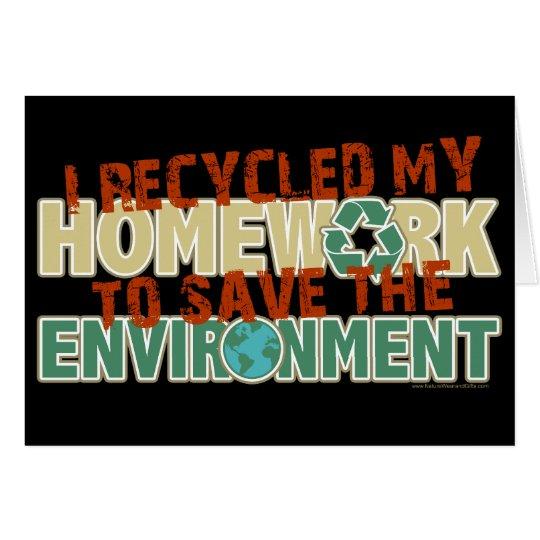 Recycled Homework Card