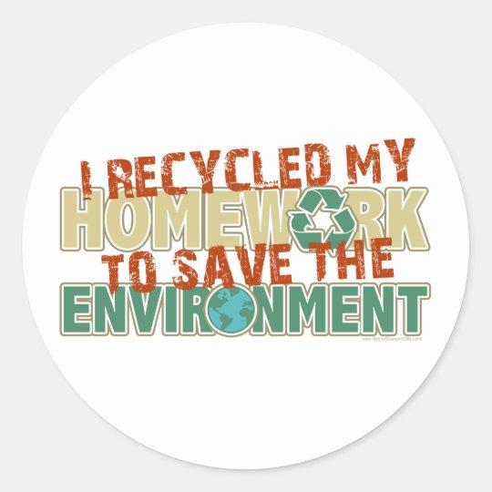 Recycled Homework Classic Round Sticker