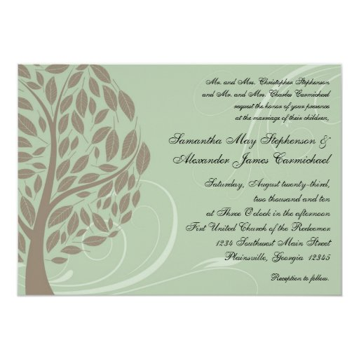 recycled paper green eco tree wedding invitations zazzle With wedding invitations made from recycled paper