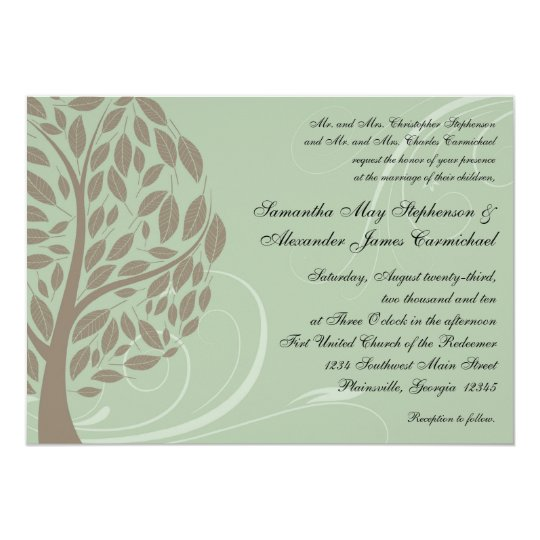 Recycled Paper Wedding Invitations: Recycled Paper Green Eco Tree Wedding Invitations