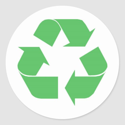 Recycled symbol round stickers