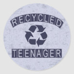 Recycled Teenager Classic Round Sticker