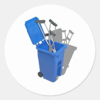 RecycledCrutches082010 Pegatina Redonda