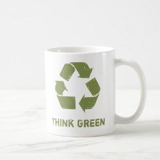 RecycleLogo, piensa verde Taza Básica Blanca