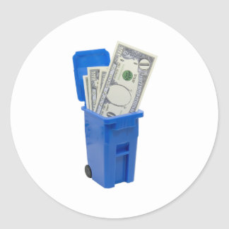 RecycleNoMoney053109 Classic Round Sticker