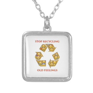recycling-401397 ADVICE MOTIVATIONAL COMMENTS EXPR Square Pendant Necklace