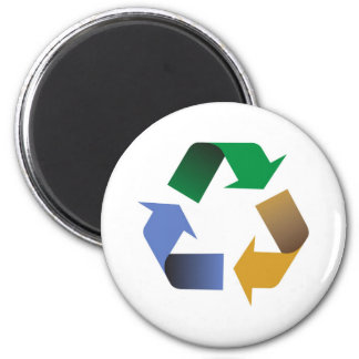 recycling arrows symbol 2 inch round magnet