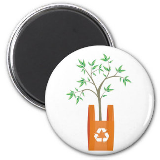recycling arrows symbol in a bag 2 inch round magnet