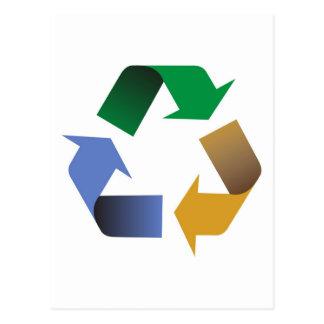 recycling arrows symbol postcard